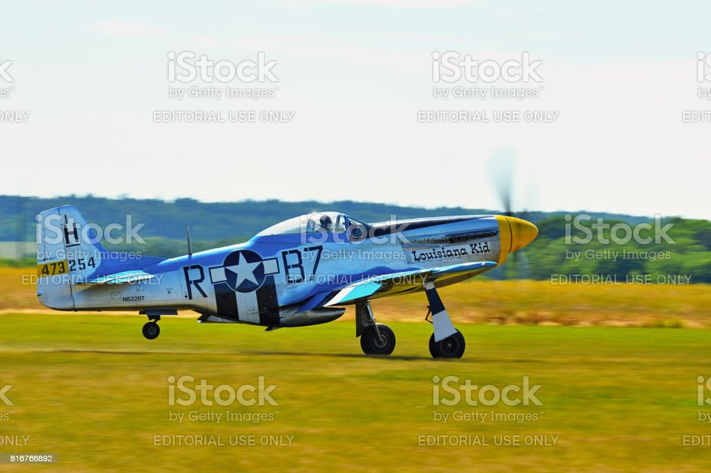 Memorial Airshow, 24th of June 2017, Roudnice, Czech Republic. WW II P51 Mustang Randolph stock photo