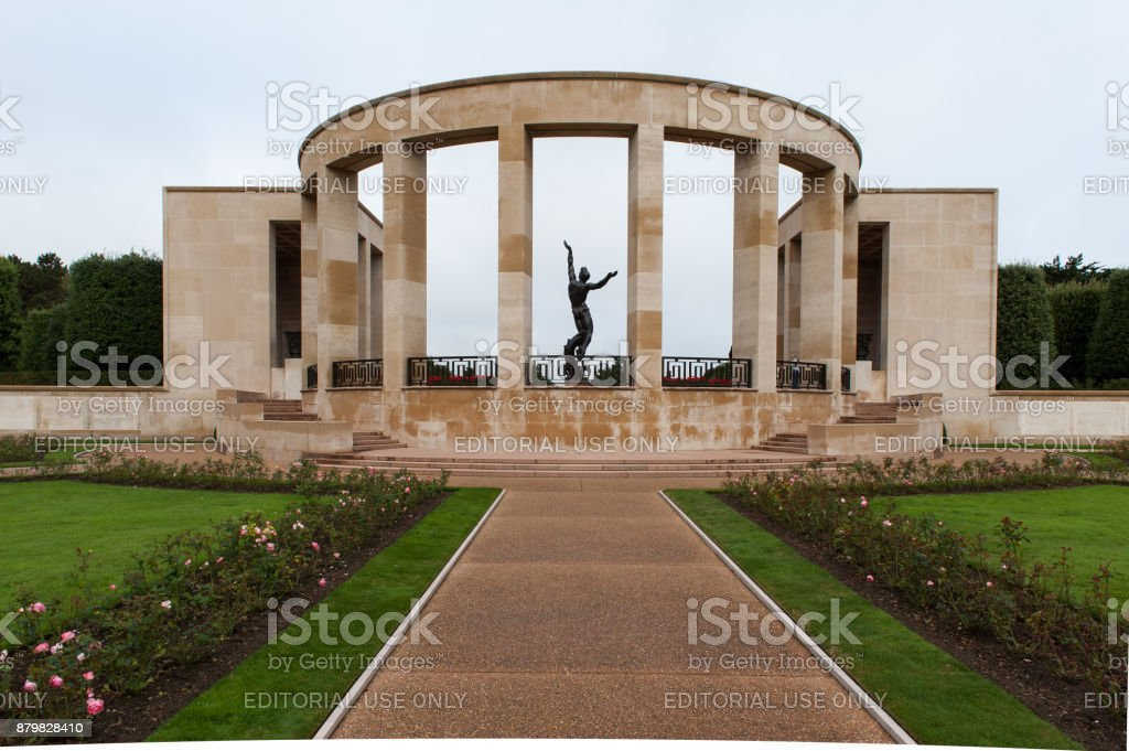 Memorial and statue at the Normandy American cemetery. stock photo
