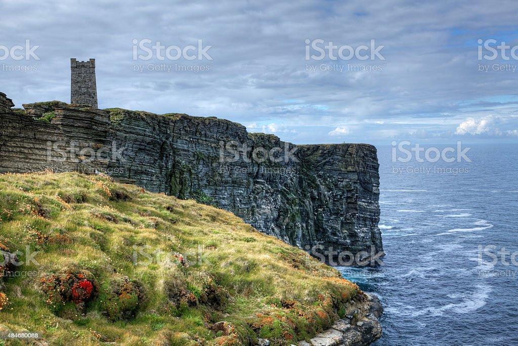 Memorial at Marwick Head in Orkney, Scotland stock photo