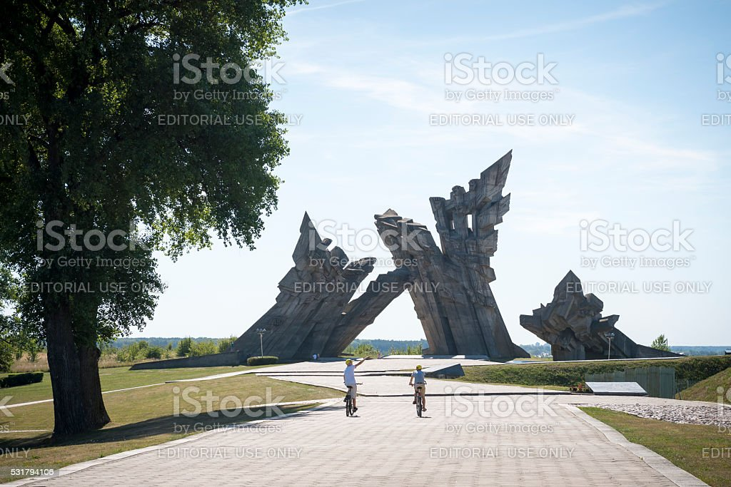 Memorial at Ninth Fort in Kaunas, Lithuania stock photo