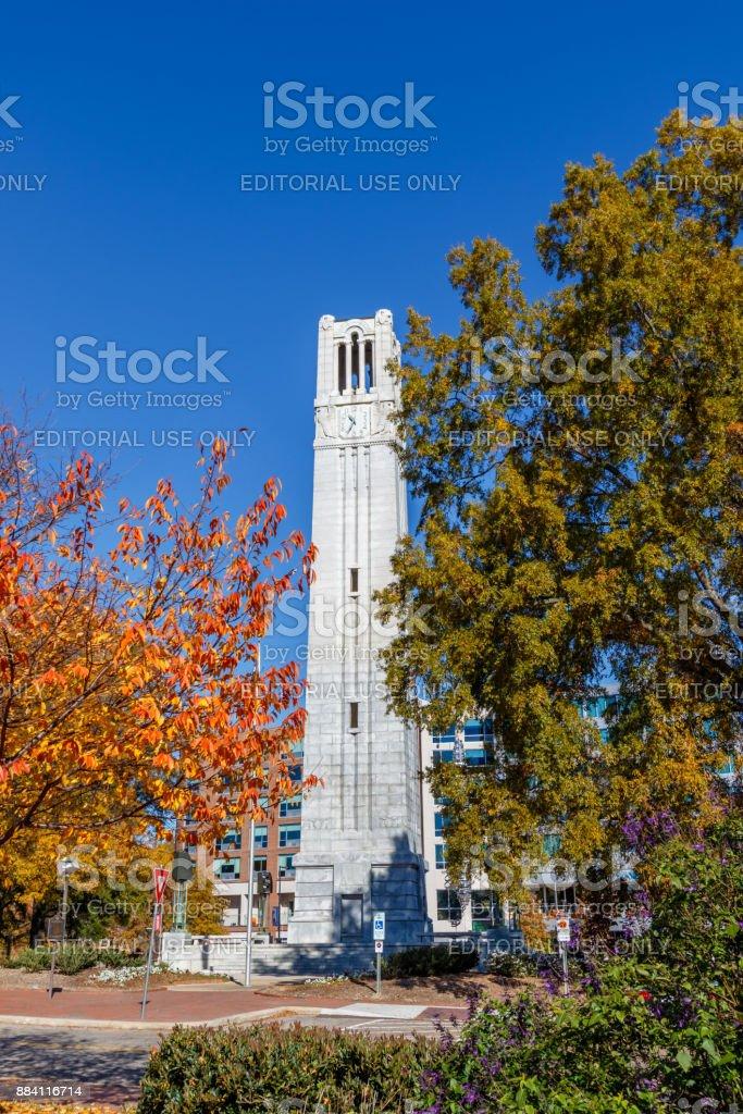 Memorial Belltower at NC State University stock photo