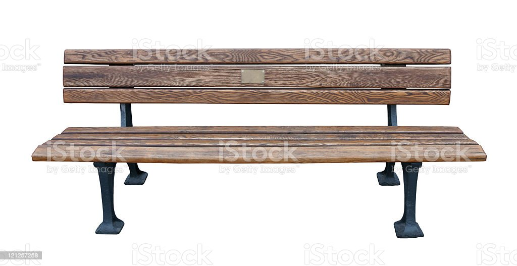A memorial bench on a white background stock photo