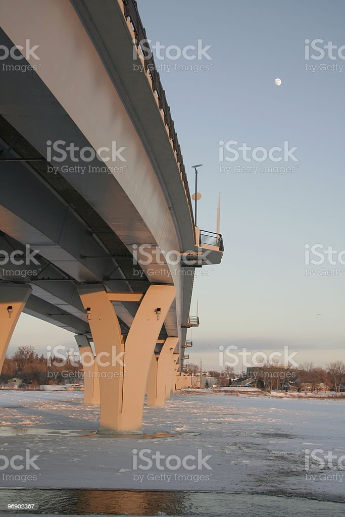 Memorial bridge with moon royalty-free stock photo