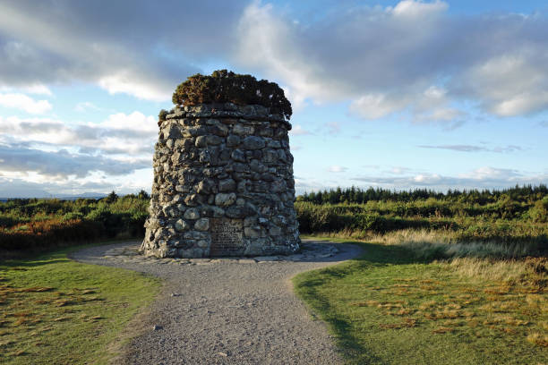 Memorial Cairn at Culloden Battlefield Memorial Cairn at Culloden Battlefield, site of the Battle of Culloden. Scottish Highlands, Scotland culloden stock pictures, royalty-free photos & images
