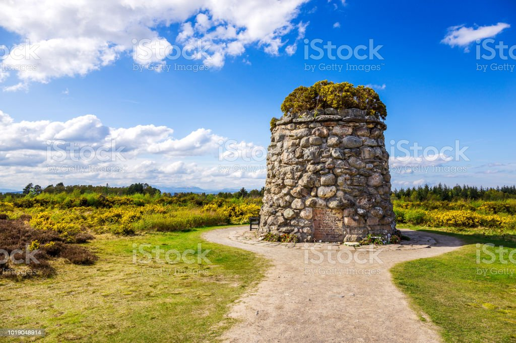 Memorial Cairn at the battlefield of Culloden Memorial Cairn at  the battlefield of Culloden near Inverness Army Stock Photo