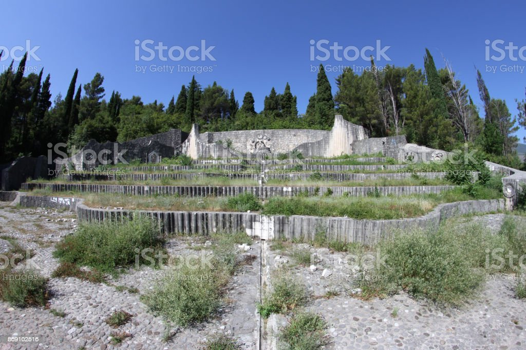 Memorial Cemetery in Mostar, Herzegovina stock photo