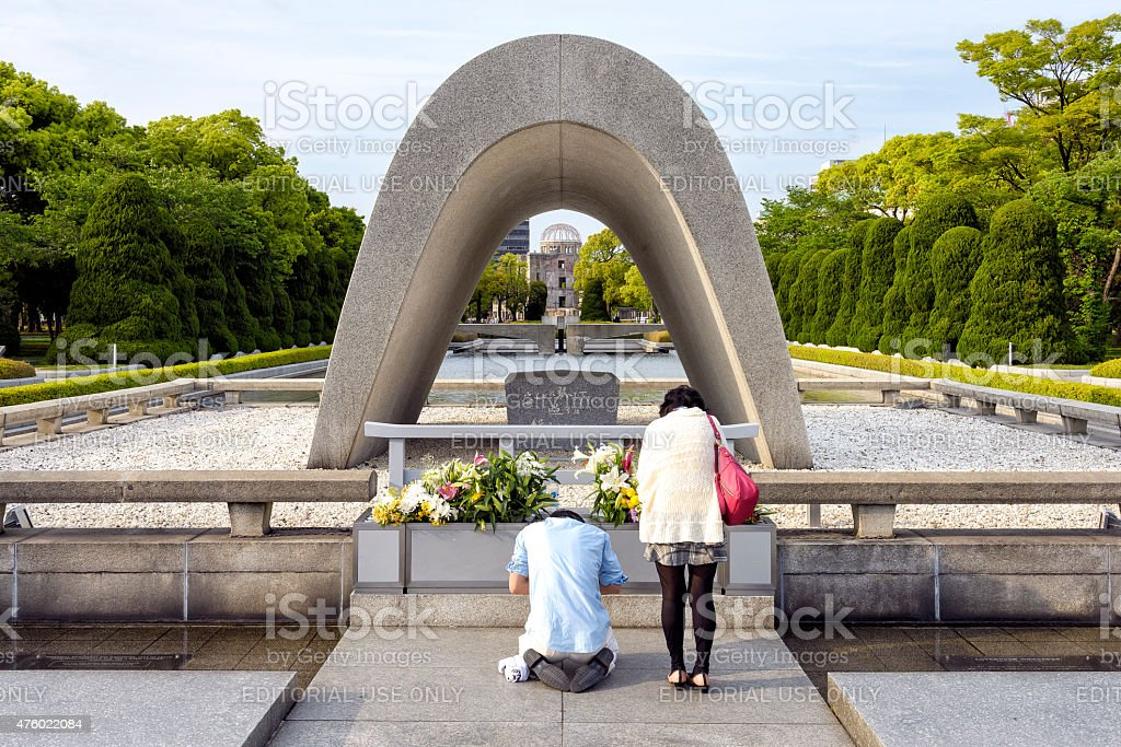 Memorial Cenotaph in Hiroshima Peace Park stock photo