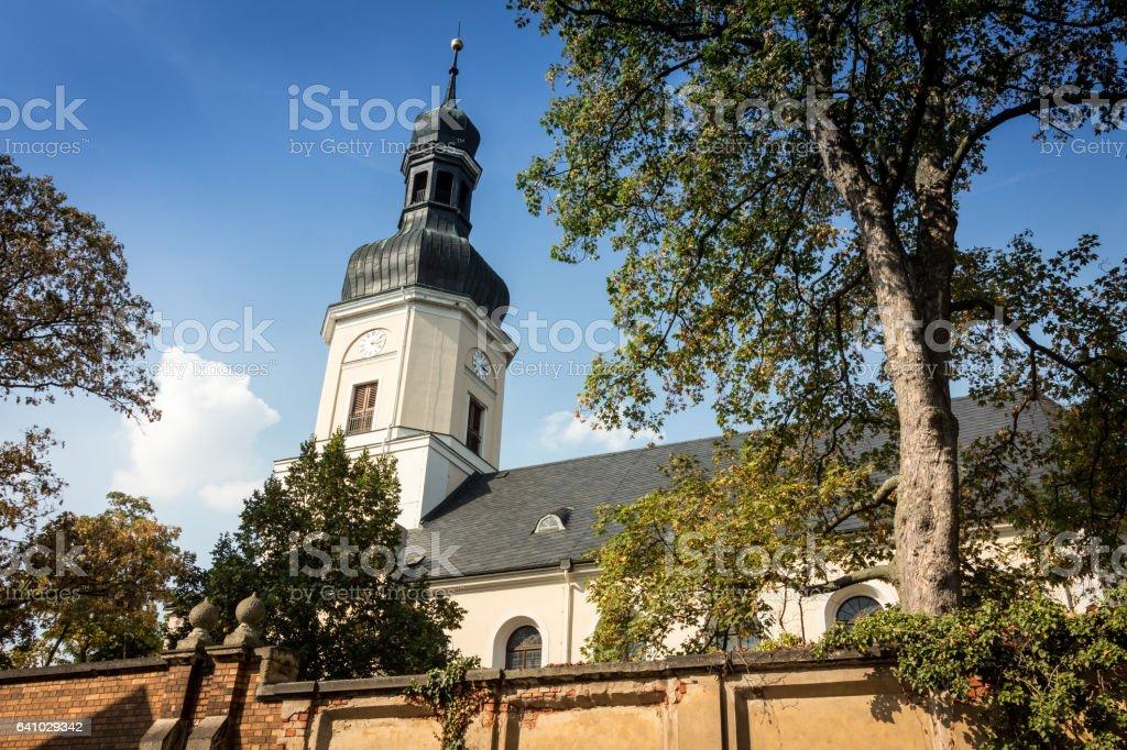 Memorial Church of Leipzig Schönefeld stock photo
