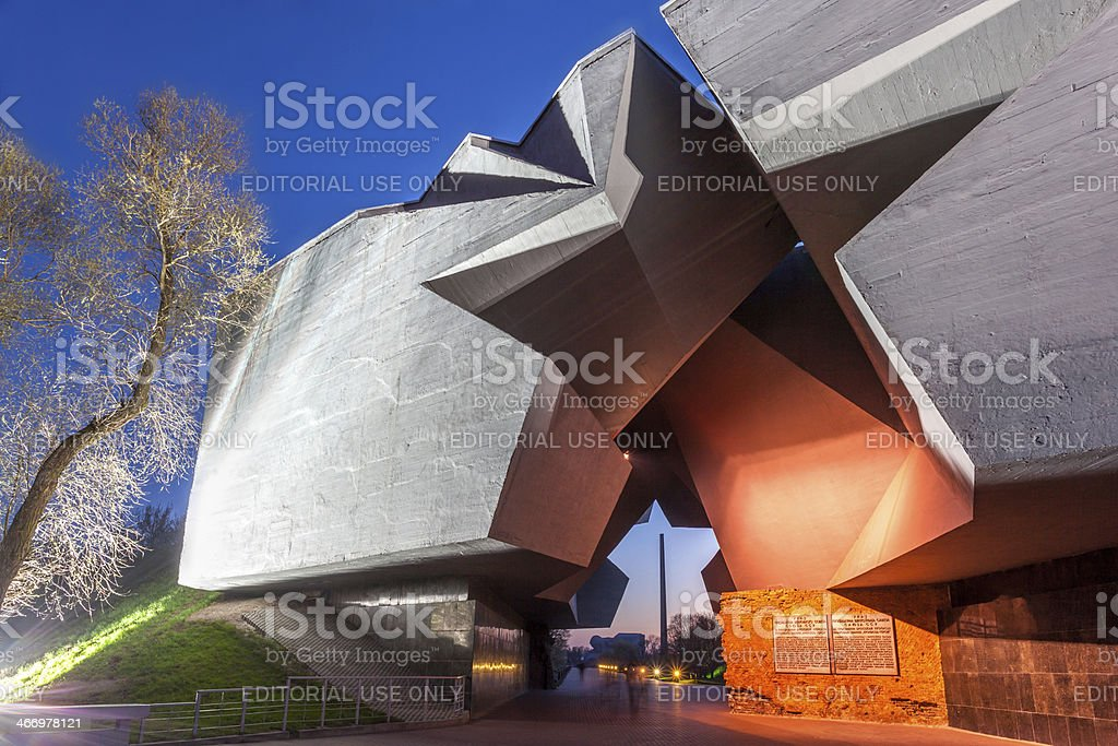 Memorial complex Brest Fortress at night, Republic of Belarus stock photo
