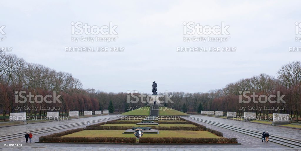 Memorial complex of the Soviet Liberator Soldier in Treptow Park stock photo