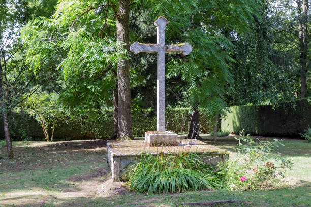Memorial cross in Fleury, French village destroyed in WW1 stock photo