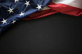This is a close up photo of an American flag on blank chalkboard. This is a great image for memorial day, Fourth of July, veterans Day, etc.