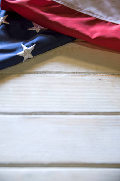 Memorial Day American Flag on White wooden Table stock photo