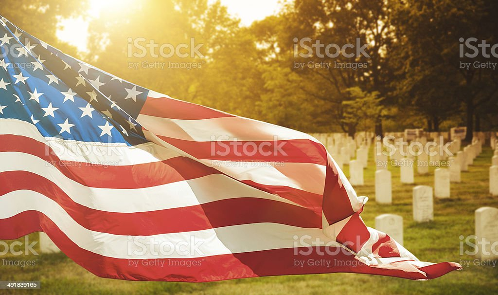 memorial day at cemetery stock photo