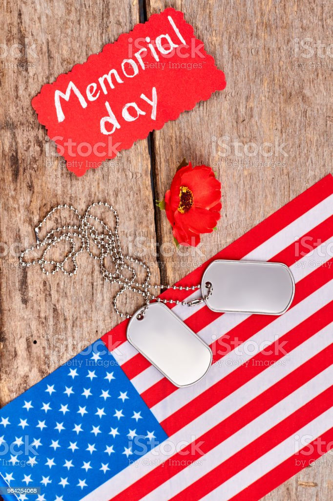 Memorial day attributes and flag of United States. stock photo