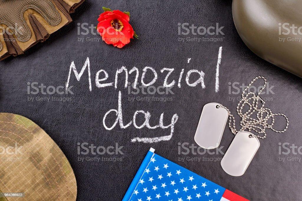 US memorial day attributes, flat lay. stock photo