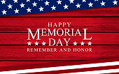USA flag elements and text for Memorial Day on wooden backdrop, with color treatment and copy space, USA style. Patriotic background usable for USA politics and government, celebration events, american contents, national landmarks and wallpaper. XXXL size concept image.