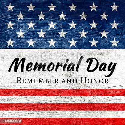Celebrative texts for USA Memorial Day on American style wooden backdrop with national flag elements.