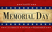Celebrative texts for USA Memorial Day on American style old paper backdrop with national flag elements.