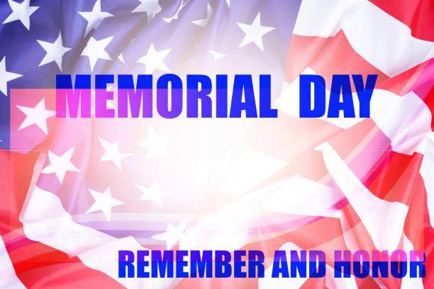 memorial day background with american flag remember and honor,greeting banner template and design background. - memorial day weekend стоковые фото и изображения