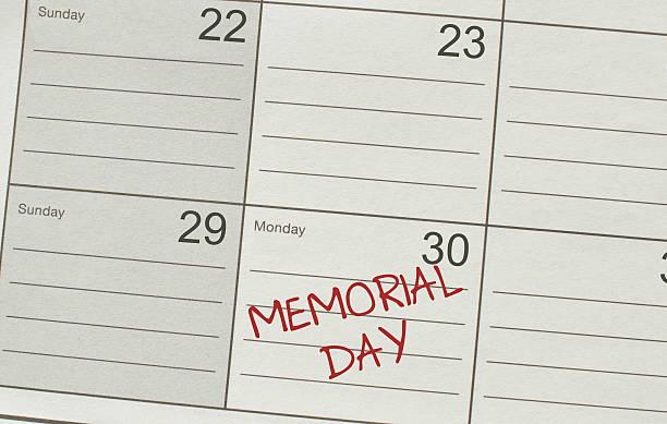 день памяти календарь крупным планом - memorial day weekend стоковые фото и изображения