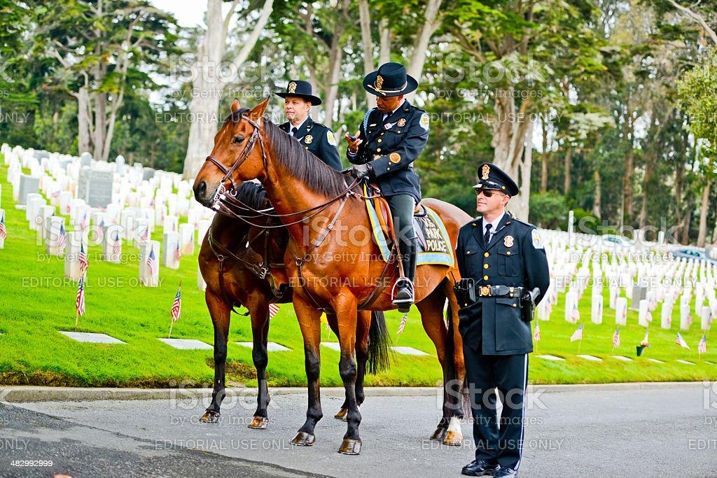 US Memorial Day Ceremony, The Presidio Cemetery,San Francisco stock photo