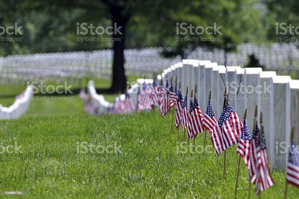 Memorial Day flags at cemetery stock photo