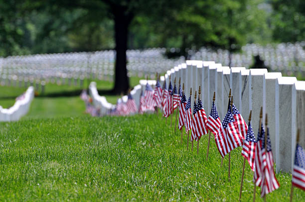 memorial day flags at cemetery - arlington national cemetery stock pictures, royalty-free photos & images