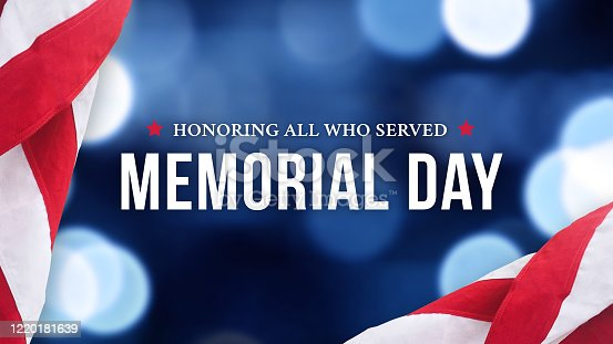 Memorial Day - Honoring All Who Served Text Over Blue Bokeh Lights Texture Background and American Flags