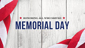 Memorial Day - Honoring All Who Served Text Over White Wood