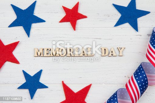 971061452istockphoto Memorial Day in the United States. Inscription on white wooden background 1137109832