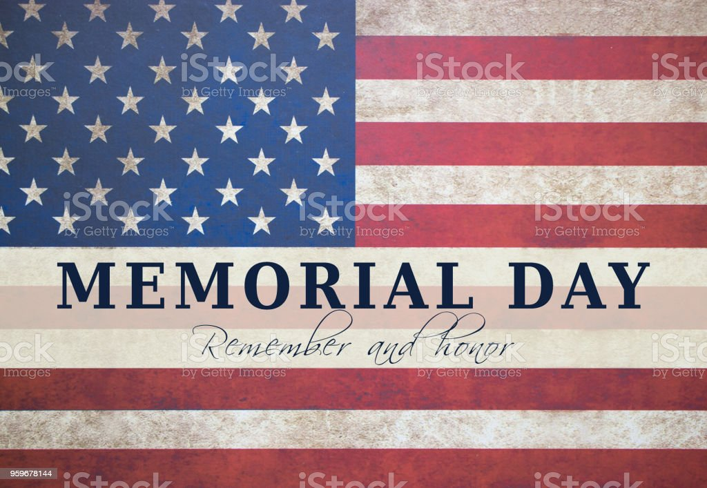 Memorial day text card with American flag background. stock photo