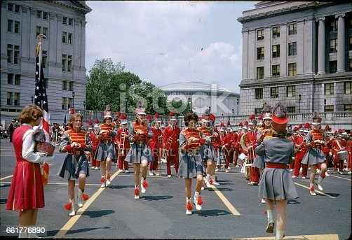 Washington DC, USA, 1964. Marching Band at the Memorial Day Parade in Washington DC, 1964.