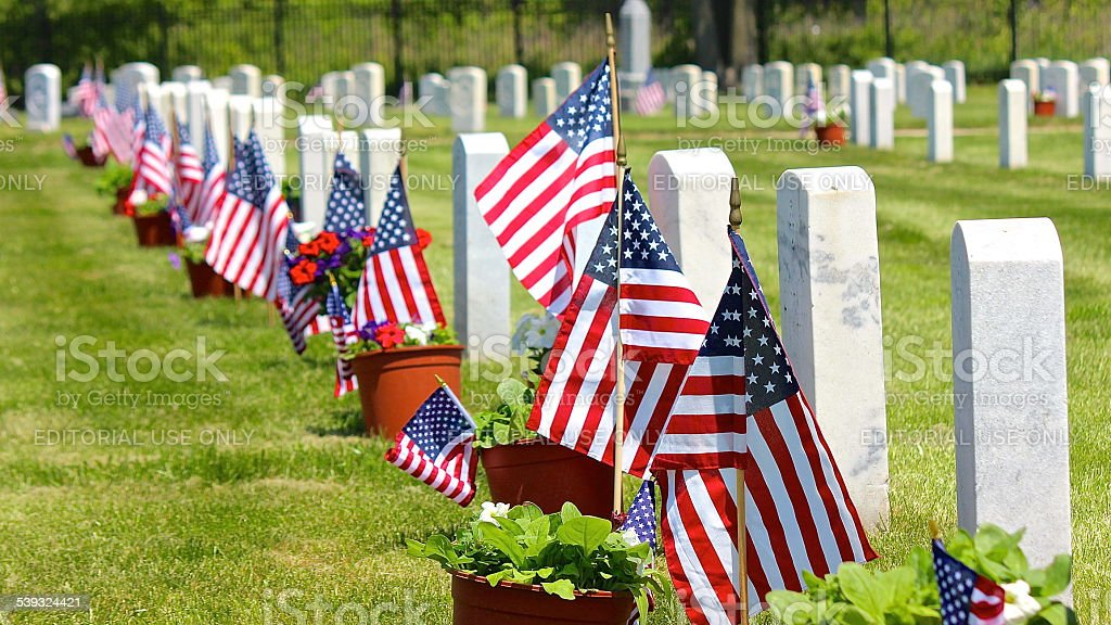 Memorial Day (Decoration Day) weekend view at Fort Sheridan Cemetery stock photo