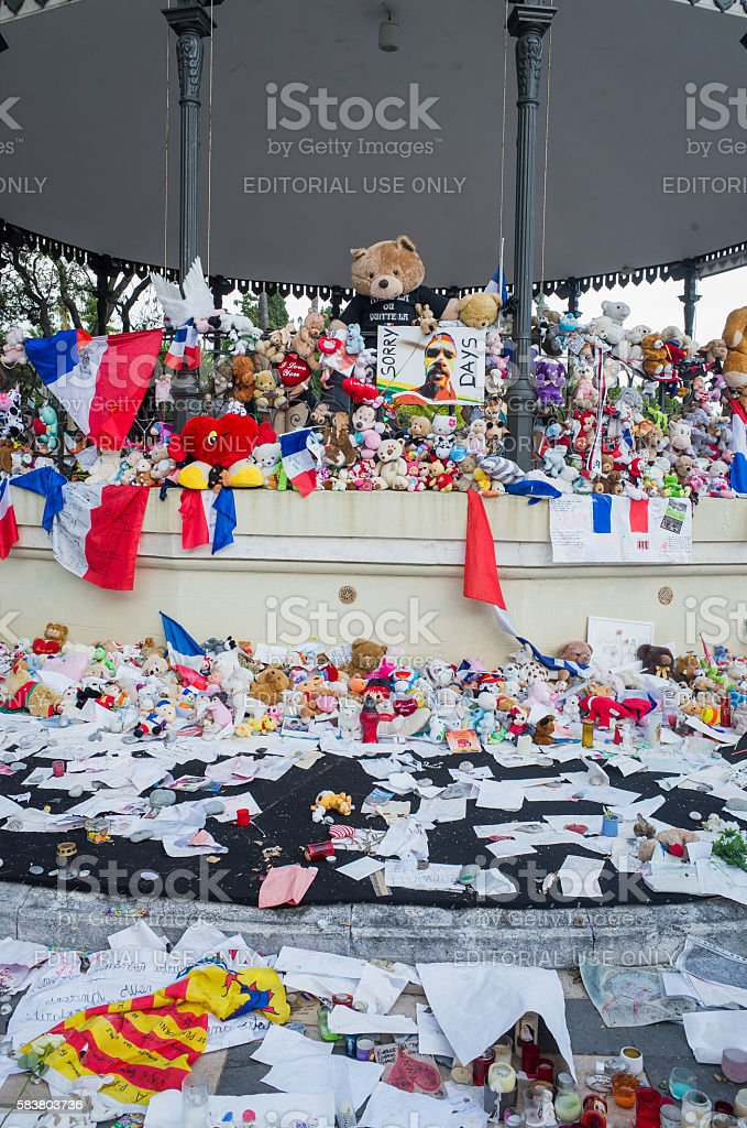 Memorial for the 14th july victim, Nice,France stock photo