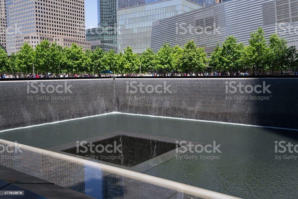 9/11 memorial fountain stock photo