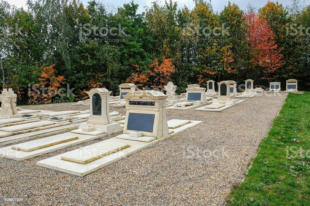 Memorial garden at the cemetery stock photo