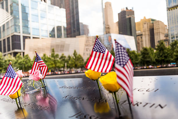 9/11 Memorial Grounds, Manhattan, New York. stock photo