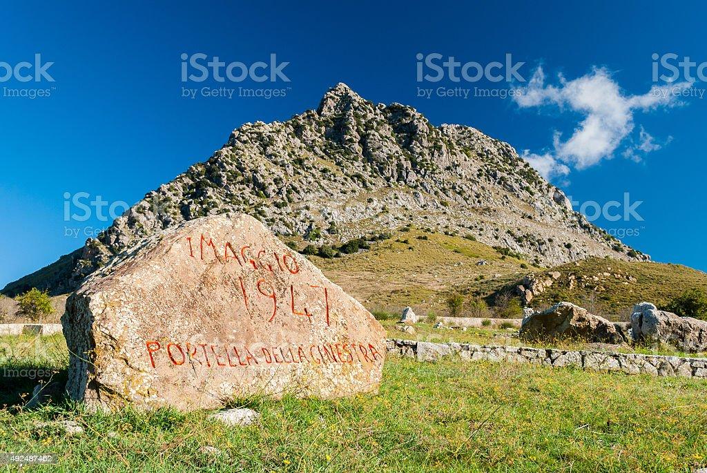 Memorial in the mountains near Palermo (Sicily) stock photo