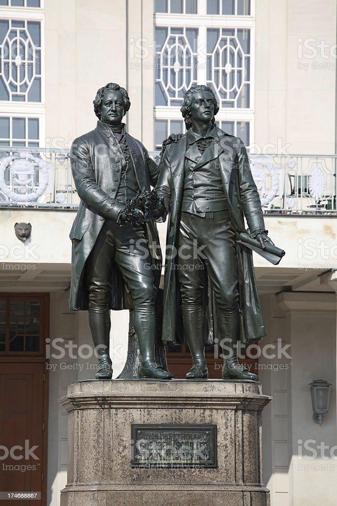 Memorial in Weimar Schiller and Goethe stock photo