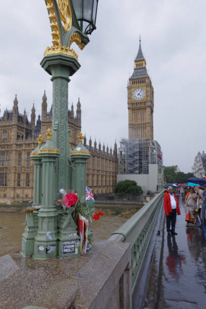 Memorial left to the victims of the 2017 Westminster attack in London stock photo