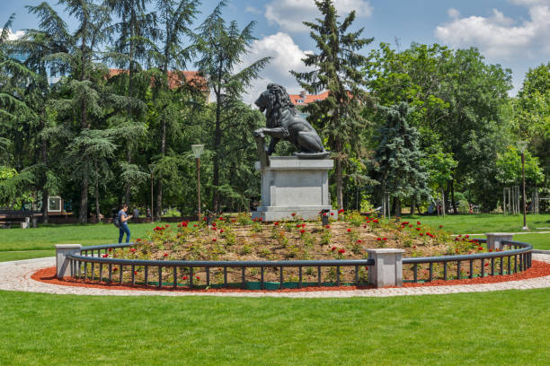 memorial of first and sixth infantry regiment in park in front of  national palace of culture in sofia, bulgaria - conferences stock photos and pictures