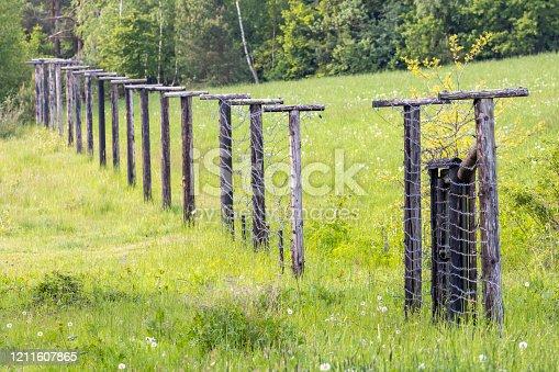 istock Memorial of Iron Curtain Slavonice - Kadolec in Czech Republic 1211607865