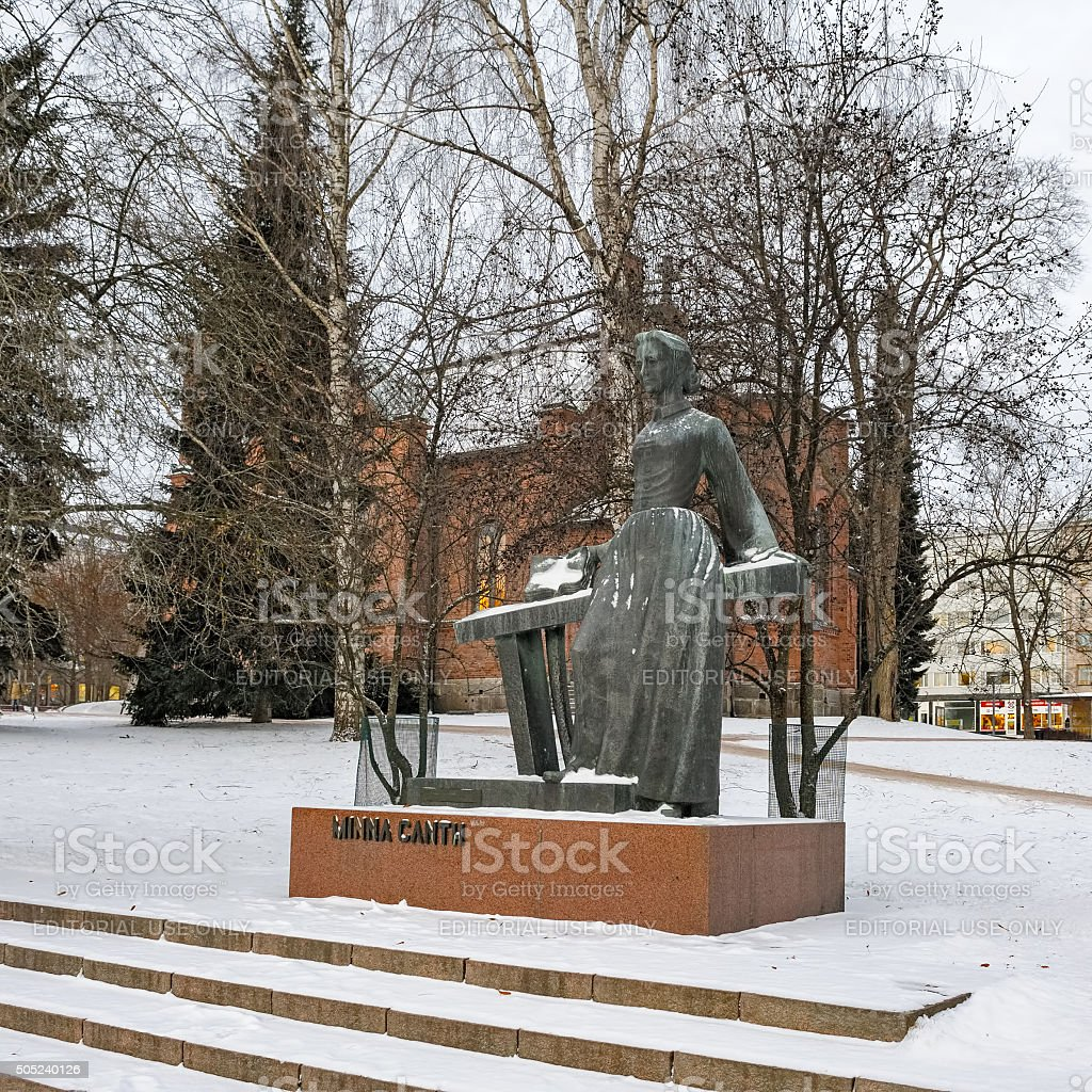 Memorial of Minna Canth in Jyvaskyla, Finland. stock photo