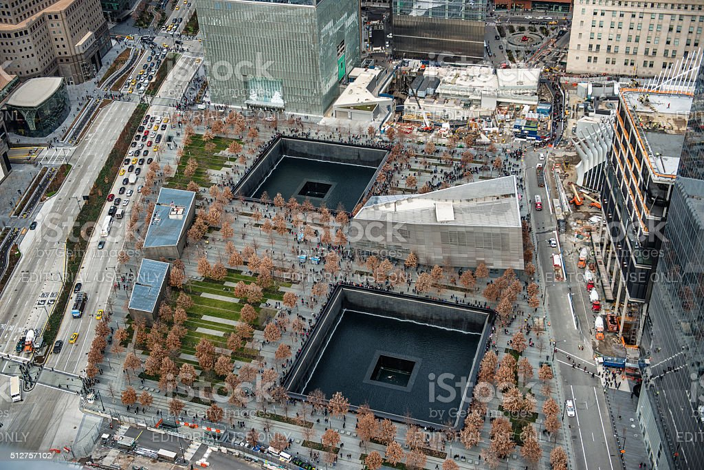 9/11 Memorial park, aerial view stock photo