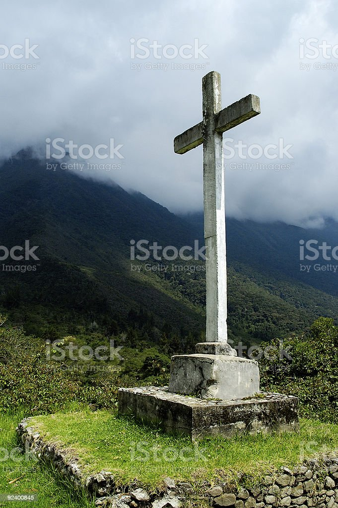 Memorial place with a christian croix royalty-free stock photo