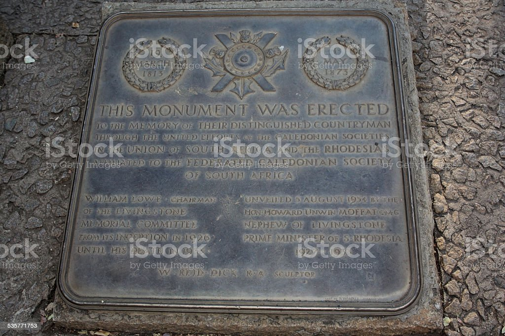 Memorial plaque at the monument to D. Livingstone in Zimbabwe stock photo