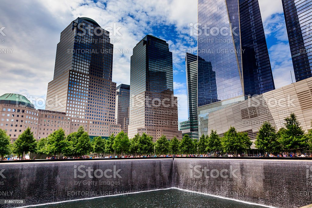911 Memorial Pool Fountain Waterfall Skyscrapers New York NY stock photo