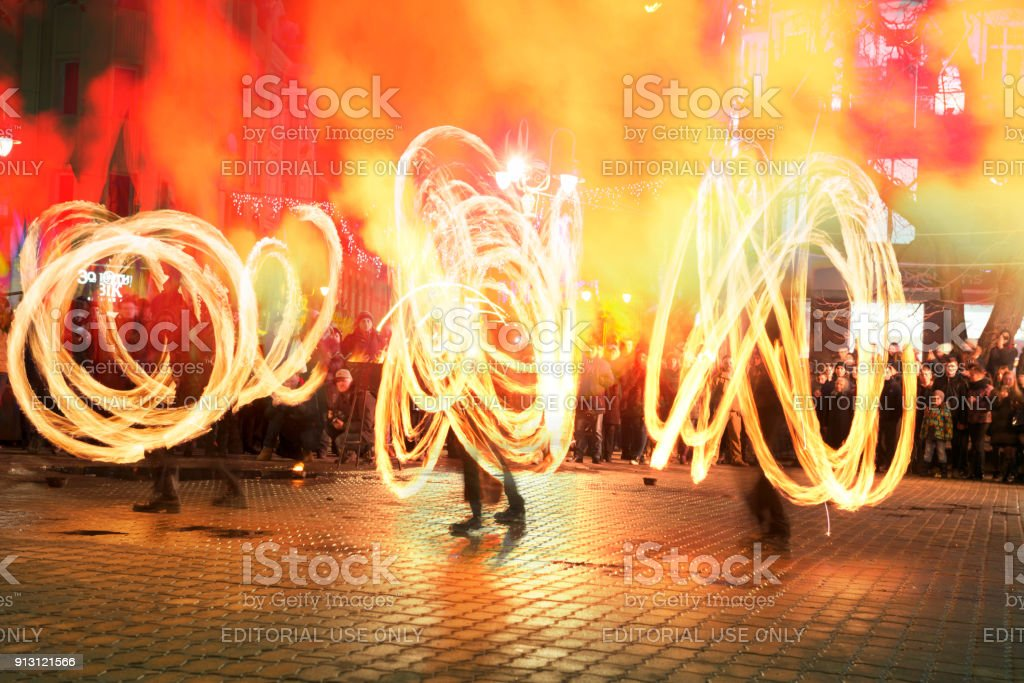 memorial procession with torches stock photo