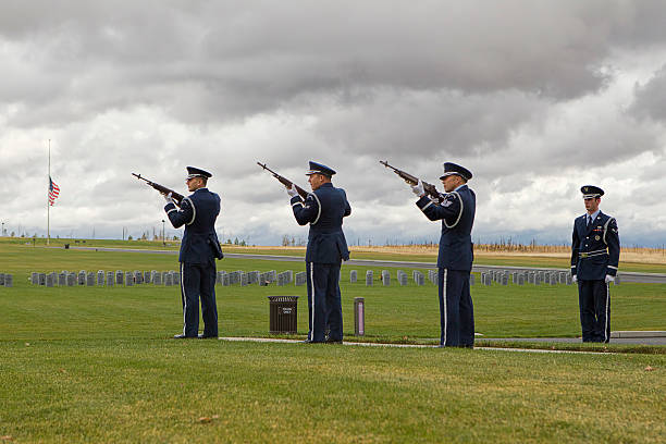 Memorial rifle squad. stock photo